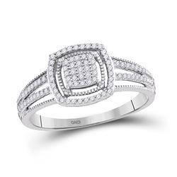 Diamond Framed Square Cluster Ring 1/5 Cttw 10kt White Gold