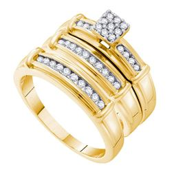 His & Hers Diamond Cluster Matching Bridal Wedding Ring Band Set 3/8 Cttw 14kt Yellow Gold