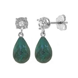 Genuine 17.66 ctw Green Sapphire Corundum & Diamond Earrings 14KT White Gold - REF-37V4W