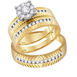 His & Hers Diamond Cluster Matching Bridal Wedding Ring Band Set 3/4 Cttw 14kt Yellow Gold