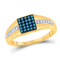 Mens Round Blue Color Enhanced Diamond Square Cluster Ring 1/2 Cttw 10kt Yellow Gold