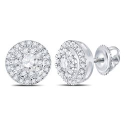 Diamond Circle Cluster Stud Earrings 1/2 Cttw 10kt White Gold