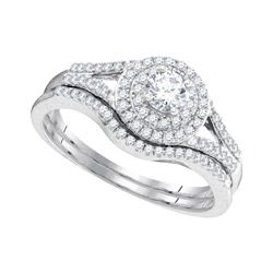 Diamond Concentric Halo Bridal Wedding Engagement Ring Set 1/2 Cttw 10k White Gold