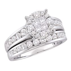 Diamond Cluster Bridal Wedding Engagement Ring Band Set 1-3/8 Cttw 14kt White Gold
