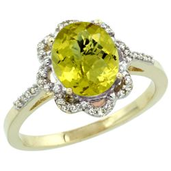 1.94 CTW Lemon Quartz & Diamond Ring 14K Yellow Gold - REF-45F3N