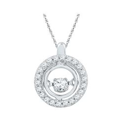 Diamond Circle Moving Twinkle Pendant 1/4 Cttw 10kt White Gold