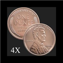 1 oz Lincoln Wheat Cent .999 Fine Copper Bullion Round