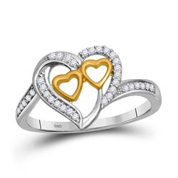 Diamond Triple Heart Ring 1/8 Cttw 10kt White Gold