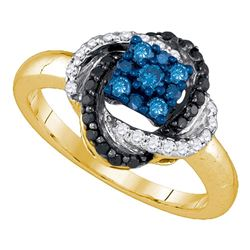 Round Blue Color Enhanced Diamond Cluster Ring 1/2 Cttw 10kt Yellow Gold