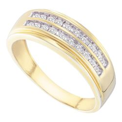 Mens Diamond Wedding 2-Row Band Ring 1/4 Cttw 14kt Yellow Gold
