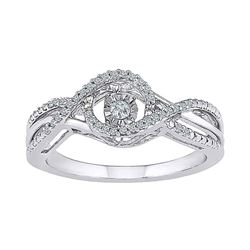 Diamond Moving Twinkle Solitaire Bridal Wedding Engagement Ring 1/6 Cttw 10kt White Gold