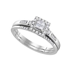 Diamond Cluster Bridal Wedding Engagement Ring Band Set 1/4 Cttw 10kt White Gold