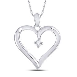 Diamond Solitaire Heart Pendant 1/20 Cttw 10kt White Gold