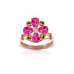 Genuine 2.43 ctw Pink Topaz & Citrine Ring 14KT Rose Gold - REF-48V9W