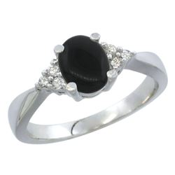 0.81 CTW Onyx & Diamond Ring 14K White Gold - REF-37N4Y