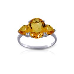 Genuine 3.5 ctw Citrine Ring 14KT White Gold - REF-37R7P
