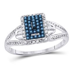 Round Blue Color Enhanced Diamond Cluster Ring 1/6 Cttw 10kt White Gold