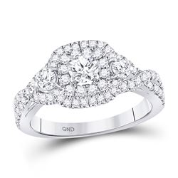 Diamond 3-stone Twist Bridal Wedding Engagement Ring 1.00 Cttw 14kt White Gold