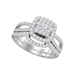 Diamond Bridal Wedding Engagement Ring Band Set 1.00 Cttw 14K White Gold