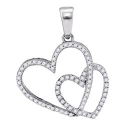 Diamond Double Heart Pendant 1/5 Cttw 10kt White Gold