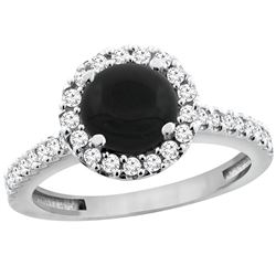 1.02 CTW Onyx & Diamond Ring 10K White Gold - REF-53M5A