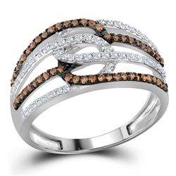 Round Brown Diamond Linked Loop Band Ring 1/2 Cttw 10kt White Gold