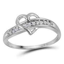 Diamond Heart Ring 1/20 Cttw 10kt White Gold
