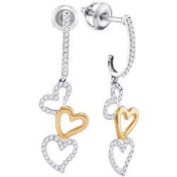 Diamond Dangling Triple Heart Earrings 1/4 Cttw 10kt Two-tone White Gold