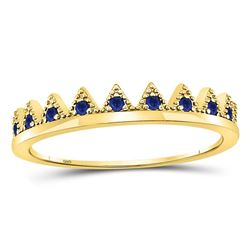 Round Blue Sapphire Chevron Stackable Band Ring 1/10 Cttw 10kt Yellow Gold