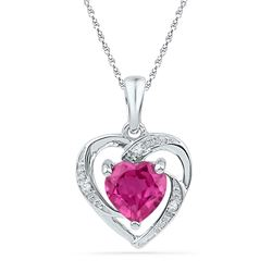 Round Lab-Created Ruby Heart Pendant 1.00 Cttw 10kt White Gold