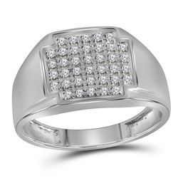 Mens Round Pave-set Diamond Square Cluster Ring 1/4 Cttw 10kt White Gold
