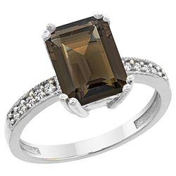 3.70 CTW Quartz & Diamond Ring 10K White Gold - REF-32K2W