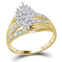 Round Prong-set Diamond Oval Cluster Ring 1/5 Cttw 10kt Yellow Gold
