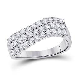 Diamond Contoured Triple Row Band Ring 1.00 Cttw 14kt White Gold