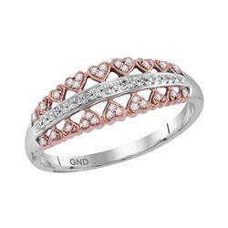 Diamond Heart Symmetrical Ring 1/8 Cttw 10kt White Rose-tone Gold