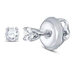 Girls Infant Diamond Solitaire Stud Earrings 1/12 Cttw 14kt White Gold
