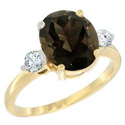 2.60 CTW Quartz & Diamond Ring 14K Yellow Gold - REF-68R6H