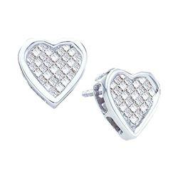Diamond Cluster Heart Screwback Stud Earrings 1/2 Cttw 14kt White Gold