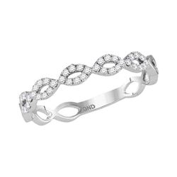 Diamond Twisted Stackable Band Ring 1/5 Cttw 14kt White Gold