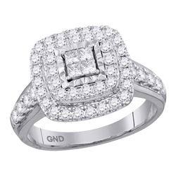 Diamond Square Cluster Bridal Wedding Engagement Ring 1.00 Cttw 14kt White Gold