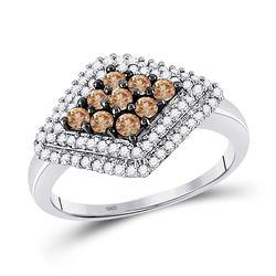 Round Brown Diamond Diagonal Cluster Ring 3/4 Cttw 10kt White Gold