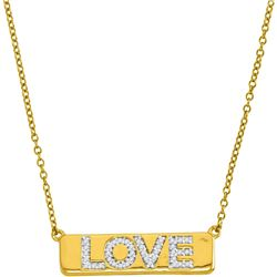 """Diamond Love Bar Pendant Necklace with 18"""" Chain 1/8 Cttw 10kt Yellow Gold"""