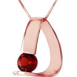 Genuine 1 ctw Garnet Necklace 14KT Rose Gold - REF-50T5A