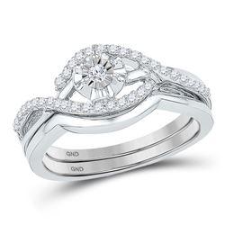 Diamond Solitaire Wedding Bridal Engagement Ring Set 1/4 Cttw 10k White Gold