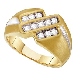 Mens Round Channel-set Diamond Triple Row Band Ring 1/2 Cttw 10kt Yellow Two-tone Gold