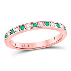 Round Emerald Diamond Alternating Stackable Band Ring 1/4 Cttw 10kt Rose Gold