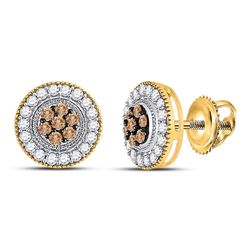 Round Brown Diamond Cluster Screwback Earrings 5/8 Cttw 10kt Yellow Gold
