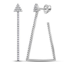 Diamond Triangular Hoop Earrings 3/4 Cttw 14kt White Gold