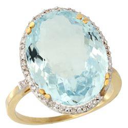 13.71 CTW Aquamarine & Diamond Ring 10K Yellow Gold - REF-174M3A