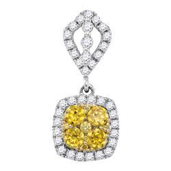 Round Yellow Diamond Square Cluster Pendant 7/8 Cttw 14kt White Gold